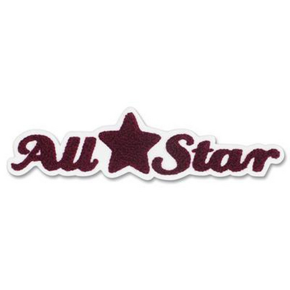 pep rally maroon all star word embroidered sticker scrappin